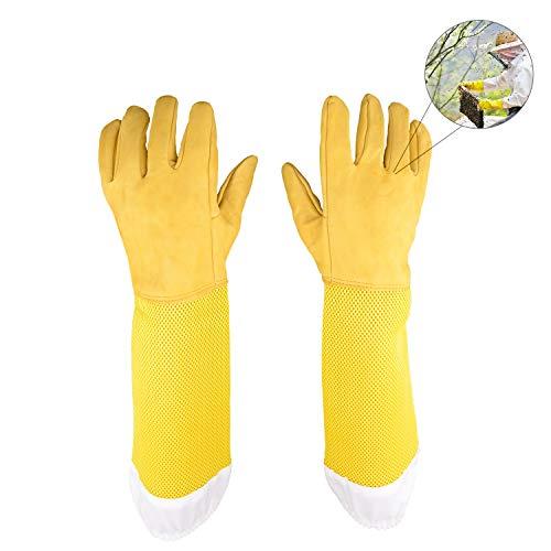 HIMETSUYA 2 Stück(1Paar) Bienenzucht Handschuhe Ziegenleder Schutzhandschuhe Langarm Langlebig mit belüfteten Handgelenken Perfekt für den Anfänger Beekeeper (Gelb)