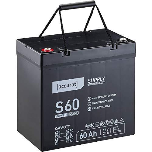 Accurat 12V 60Ah Blei-Akku AGM Blei-Batterie Zyklenfest Supply-Serie VRLA Versorgungsbatterie S60 (wartungsfrei)