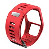 HQTUAN ANBEST Silicone Strap Replacement for TomTom Runner 2/3 Spark/3 Strap Sport Watch for Tom Watch Strap Watch Band (Band Color: Red)