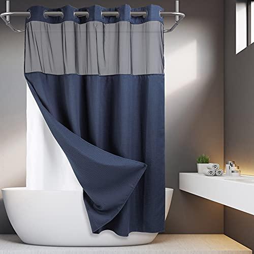 Duschvorhang, Waffelgewebe, mit einrastendem Einsatz, 71 x 74 cm, Hotelqualität, Spa-ähnlicher Badvorhang, Marineblau