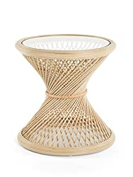 Amazon Kouboo Peacock rattan side table with glass top