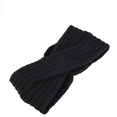 Sally Stella Strick-Stirnband für Damen, aus Wolle mit Häkelknoten, Turban, Stirnband, Ohrwärmer, Herren, BK