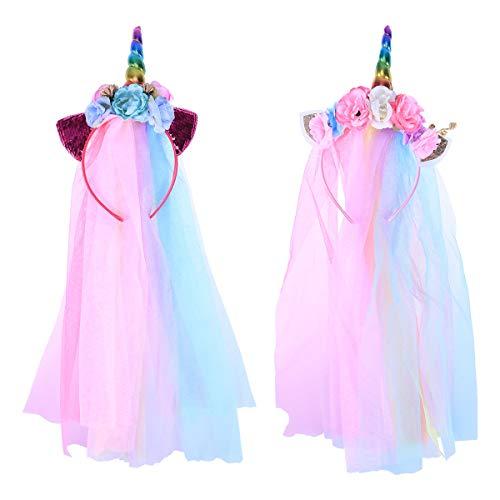 FRCOLOR Diadema de Cuerno de Unicornio con Velo y Flor Accesorio de Pelo para Fiestas Cumpleaños Banquetes Disfraz Cosplay Traje 2 Piezas