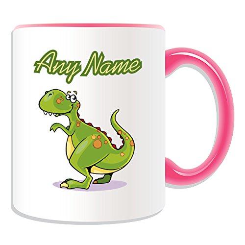 Occasions Direct-Tazza in ceramica, motivo: T. Rex, tema dinosauro, colori, con nome e messaggio on Your Unique-Tazza in porcellana, motivo: Tirannosauro, Ceramica, Rosa