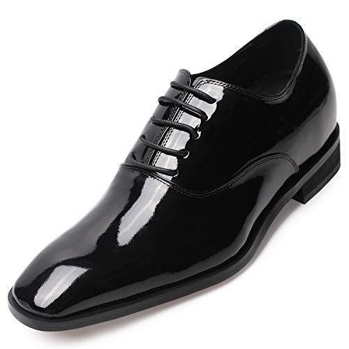 CHAMARIPA Men's Invisible Height Increasing Elevator Shoes-Black Genuine Leather Tuxedo Dress Formal Oxford-2.76 Inches Taller K6532B US 7.5