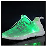 callm Summer Led Fiber Optic Shoes for Girls Boys Men Women USB Charging Glowing Sneakers Man Light Up Shoes US:8.5 White
