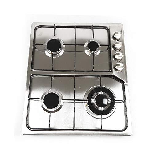 OUKANING Cocina de gas de 4 llamas, para gas natural y propano 580 x 520 mm