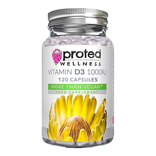 Vitamin d3 1000 iu Vegan Supplement - 120 Capsules Vegetarian and Kosher Approved VIT d3 - Gluten Free Vitamin D - UK Made - Protea Wellness