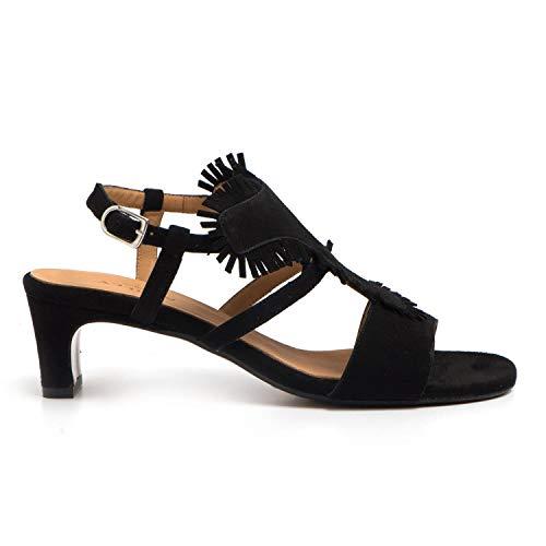 AUDLEY - Sevilla Sandals in Black Suede - 20344CAPRI