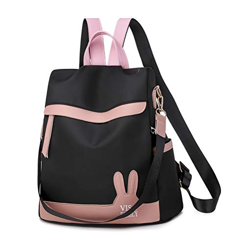 Women Backpack Purse Artificial Leather Anti-theft Casual Travel School Bag Black Size: Mid Size