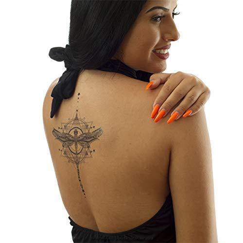 1 x Libellen XL Tattoo - schwarzes Tattoo mit Sternen, Pfeilen und Mustern - Body Temporary Tattoo - AL006 (1)