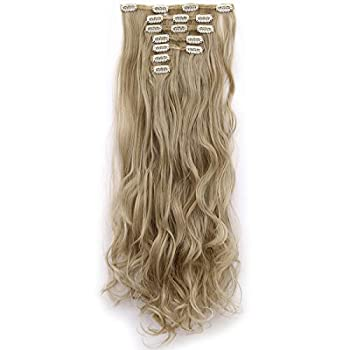 Lelinta 7Pcs Full Head 16 Clips in on Double Weft Hair Extensions Ash Blonde Mix Bleach Blonde 24inch 160g