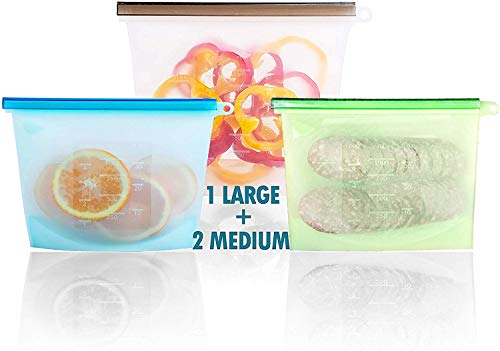 Cheapest Prices! Reusable Silicone Food Storage Bags Large 50oz &2-30 | Reusable Container for Sous ...