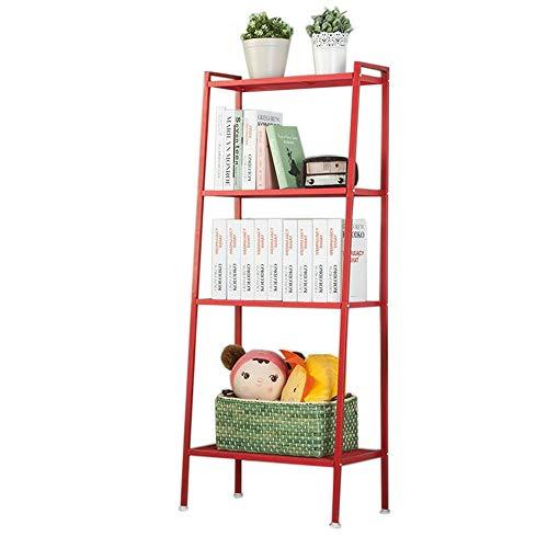 JCNFA planken Boekenplank Trapeziumvormig Ontwerp Hoek Vierkant Rek Industriële Ladder Planken, 4 Lagen, Breedte 60cm 23.62 * 13.77 * 57.87in Rood