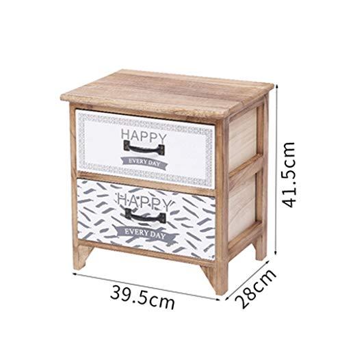 CCF Table de Chevet Simple Moderne Chambre De Stockage Salon De Stockage De Stockage en Bois Massif Armoire De Rangement Vestiaire Lumière De Décoratif (Couleur : Frame Double Drawer)