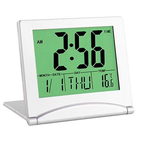 WOVELOT Reloj Despertador de Viaje, Reloj Plegable de Escritorio con Pantalla LCD Digital con Temporizador Temperatura RetroiluminacióN RepeticióN Fecha 12/24 Horas