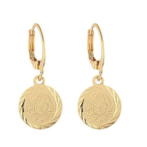 Goldfarbene Münzen-Ohrringe, muslimischer islamischer Schmuck, antike Münze, arabischer afrikanischer Stil