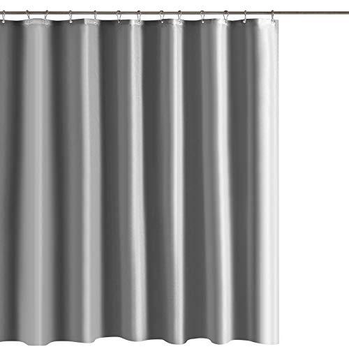 LIHAO Duschvorhang 180x200 cm Grau Wasserdicht Waschbar Stoff mit 12 Duschvorhangringe