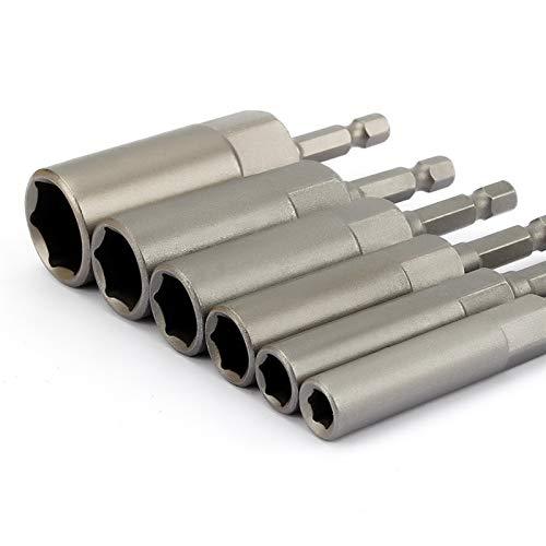 Screwdriver 6Pcs 6mm-17mm 80mm Length Extra Deep Bolt Nut Bit Set Metric 1/4 6.35mm Hex Shank Impact Socket Adapter For Power Tools Repair tools for DIY projects
