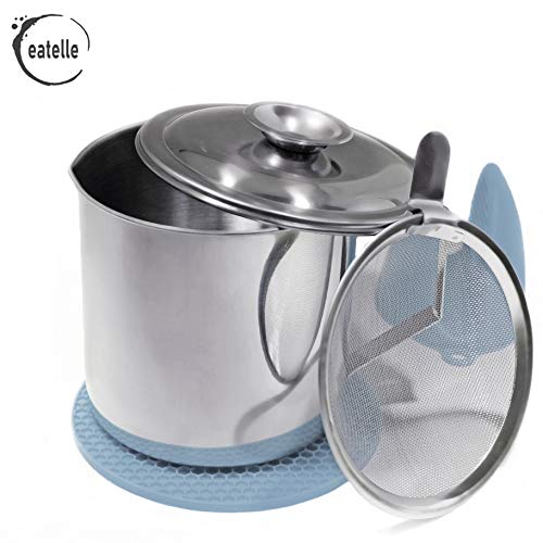 eatelle Cooking Oil Container and Bacon Grease Jar with Strainer, Stainless Steel Oil Storage Can - Fat Jar 1.25 Quart - 5 Cups, Traditional Holder and Oil Separator + Blue Silicone Mitt and Mat…