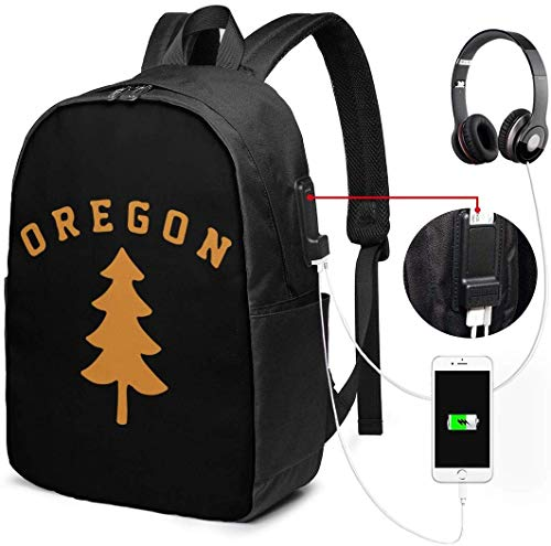 Oregon Douglas Pine Tree Waterdichte Laptop Rugzak met USB Opladen Poort Hoofdtelefoon Past 17 Inch Laptop Computer Rugzakken Reizen Daypack School Tassen voor Mannen Vrouwen