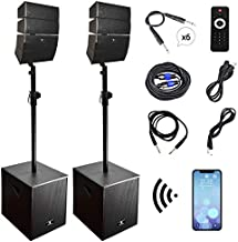 PRORECK Club 3000 12-Inch 4000w DJ Powered PA Speaker System Combo Set with Bluetooth USB SD Card Remote Control,Two subwoofers and 8 line Array Speakers Set