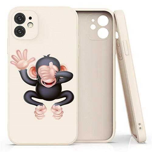 Mixroom - Cover Custodia in Silicone TPU BRIGE Opaco Bordi Piatti per iPhone 11 Fantasia Scimmia Che Si Copre Gli Occhi 655