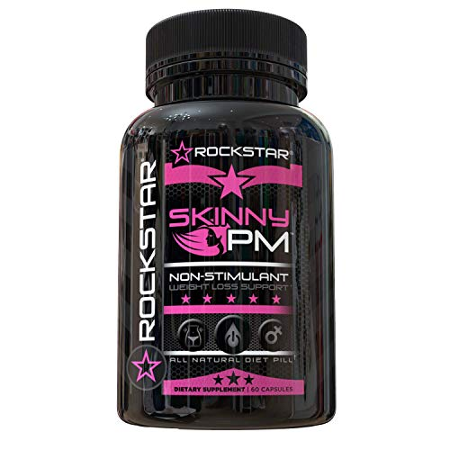 Rockstar Skinny PM Diet Pill for Women, Thermogenic Hyper-Metabolizer, Nighttime Non-Stimulant Weight Loss Pills for Women, 60 Veggie Caps