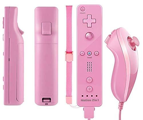 TheMax® WII U - Mando a distancia para Nintendo Wii U Remote WII (incluye funda de silicona y correa), color azul oscuro rosa pastel