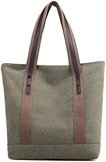 JAUROUXIYUJI Spring Canvas Casual Portable Commuter Fashion Single Shoulder Bag with Zipper for Women (Color : Green, Size : 36cm*12cm*32cm)