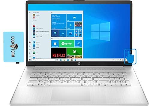 "HP Newest 17z (2021) HD + Touchscreen Laptop for Business or Student (AMD Ryzen 5 5500U 6-Core, 8GB RAM, 128GB SSD + 1TB HDD, AMD Radeon, 17.3"" (1600x900), WiFi, BT, Webcam, Win 10 H) w/Hub"