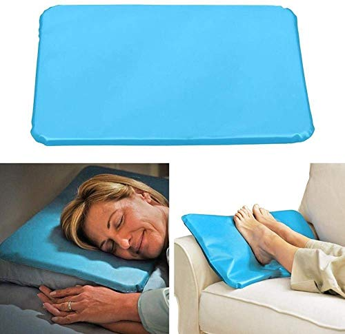 ZHENG Pillow costs Summer Ice Cold Therapy Massage Pillow Insert Sleeping Pillow Neck Support Pillow Cooling Gel Mat Relief Pad 1pc (Color: Blue) single fluid therapy to relieve discomfort caused by h