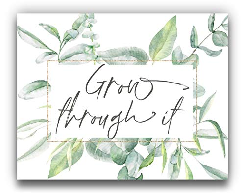 """""""Grow Through It"""" Botanical Watercolor Wall Art 14x11 UNFRAMED Print - Makes a Great Gift under $15 for Lovers of Positive, Inspirational Decor"""