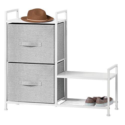 mDesign Estantería organizadora con dos cajones de tela – Cómoda metálica con baldas de madera – Organizador con cajones para guardar pantalones, camisetas, tops o ropa interior – gris