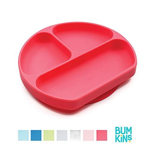 Bumkins Silicone Grip Dish, Suction Plate, Divided Plate, Baby Toddler Plate, BPA Free, Microwave Dishwasher Safe – Red