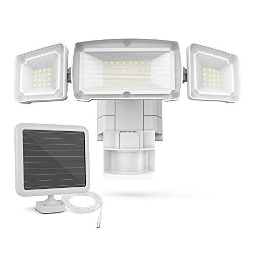 Solar Motion Light Outdoor, Wayhom 1800LM Solar Flood Light Outdoor with Motion Sensor, 180° Motion Activated, Waterproof IP65, 5500K, 3 Head Outside Security Light for Garage, Backyard, Patio, Porch