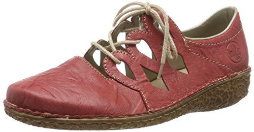 Rieker M0945-33, Zapatos de Cordones Derby para Mujer, Rojo (Rosso 33), 38 EU