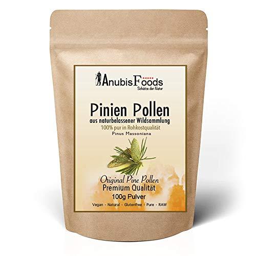 Anubisfoods Pinien Pollen Pulver - Natürliche Wildsammlung - 100{bdc26862fdb53196d5c022ab28d475e5f4f2b582df1b3973b5b5452ed6fd9390} Rohkostqualität - Vegan - Laborgeprüft - RAW Premium - Pine Pollen (1x 100g)