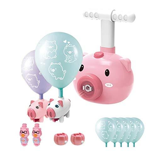WNFYES Coche Globo Potente Flying Piggy Desarrollado Rocket Globo Coche Volador Tiempo Bola de balones de inercia Powered Globo de Coches de Juguete con el Lanzamiento de Remolque