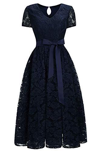 Babyonlinedress® Damen Kleid Brautjungfernkleid Weinachtenkleid Spitzenkleid Mit Ärmel Cocktailkleid Dunkelblau Übergrößen 52