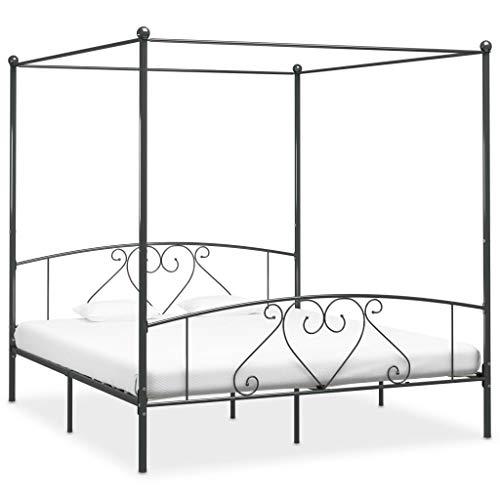 SKM Canopy Bed Frame Grey Metal 6FT Super King