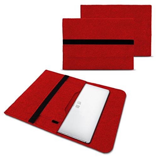 NAUC Laptoptasche Sleeve Schutztasche Hülle für Trekstor Surfbook W1 W2 Netbook Ultrabook 14,1 Zoll Laptop Filz Hülle, Farben:Rot