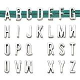 Youdiyla 5 Sets Alphabet Slide Letter Charm, Width 11mm, Antique Silver Tone, Flat Leather Bracelet'A-Z' Charms for Flat Leather Bracelet(Mix HM142)
