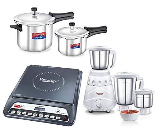 Prestige Stainless Steel Value Pack(2L,5L),Flair Mixi(550 Wats) Combo Set with The Induction...