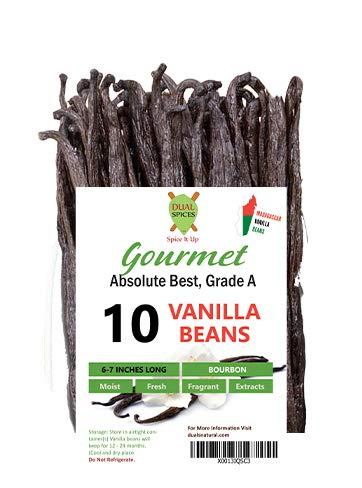 Dualspices  10  Grade A Madagascar Bourbon Vanilla Beans Vanilla Planifolia Super Moist amp Fresh 33% Moisture Content  6  7 Inches