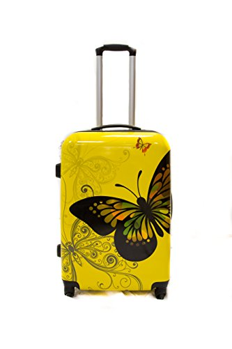 TROLLEY ADC Valise Taille Moyenne 65cm 4 Roues Polycarbonate (Jaune) - Trolley ADC Butterlfy Rigide.
