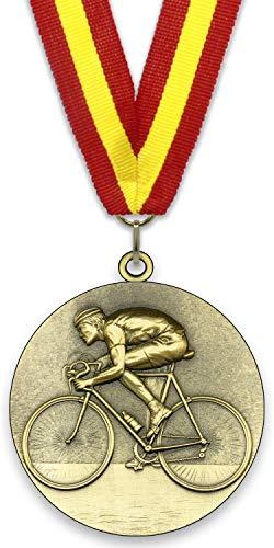 Medalla de Metal Personalizable - Ciclismo - Color Oro - 6,4cm - Cinta Incluida - Colores de Cinta - Rojo-Amarillo-Rojo