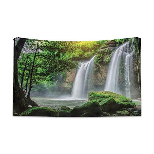 ABAKUHAUS Verde Tapiz de Pared y Cubrecama Suave, Cascada Exótica Naturaleza, Colores Firmes y Durables, 230 x 140 cm, Blanco Verde