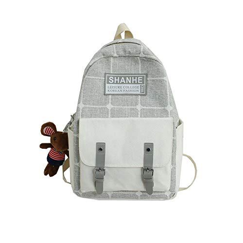 SQBB Rucksäcke Taschen Daypacks Studentin der farbigen passenden Rucksack-Studententasche Kleiner frischer Campus-Karierter Rucksack hellgrau