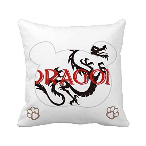 OFFbb-USA - Funda cuadrada para cojín con diseño de osito de dragón oriental